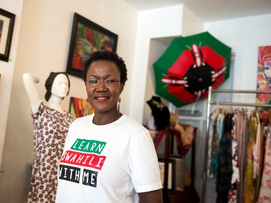 Victoria Kageni-Woodard  poses for a portrait in her clothing shop, Gusa, Tuesday, June 5, 2018. The Gusa World Music Festival is June 15-16 in York City. Tuesday, June 5, 2018. The Gusa World Music Festival is June 15-16 in York City.