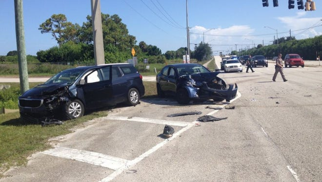 Four were taken to local hospitals after a vehicle crash in Merritt Island on Saturday.