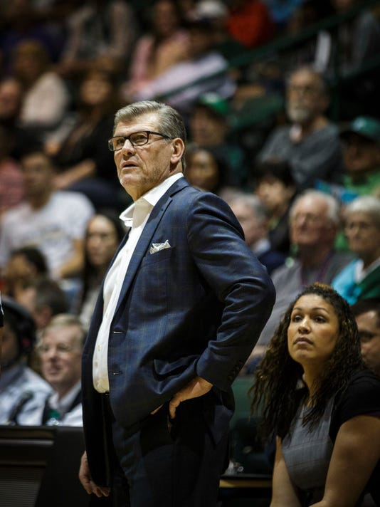 Connecticut coach Geno Auriemma stands on the sideline during the second half of the team's NCAA college basketball game against Tulane in New Orleans, Saturday, Feb. 18, 2017. (AP Photo/Sophia Germer)