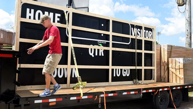The new electronic scoreboard arrives Tuesdat to Donald Gardner Stadium in time for the start of the football season.