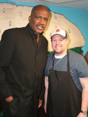 MSU basketball great Jay Vincent will be working with Juicy Burger owner Mike Dezotell, right, in Battle Creek.