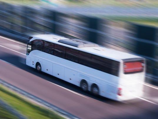 White Bus Running on a Fast Lane, Motion Blur