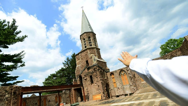 First  Presbyterian Church will hold services on its campus for the first time since a fire destroyed the main historical sanctuary.