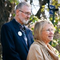 Patty and Jerry Wetterling speak to reporters at their home in St. Joseph.