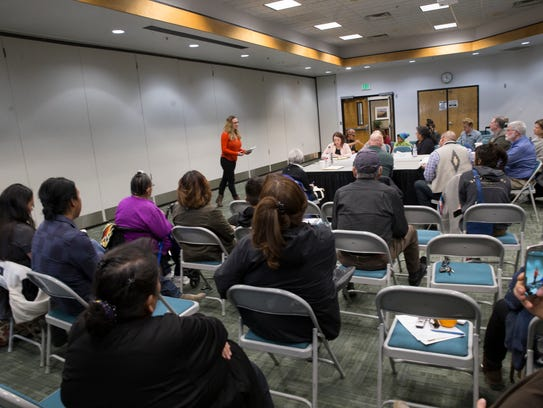 Rebecca Sobel with WildEarth Guardians speaks to members of the Bureau of Land Management Advisory Council during a public forum on Tuesday, Jan. 30, at San Juan College in Farmington.