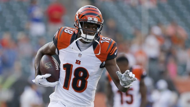 Cincinnati Bengals wide receiver A.J. Green (18) catches a pass during warm-ups prior to the preseason NFL game between the New York Giants and the Cincinnati Bengals Aug. 14.