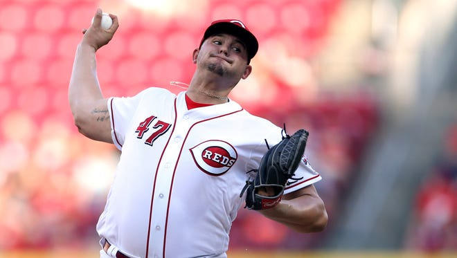 Cincinnati Reds starting pitcher Sal Romano (47) delivers in the first inning during a National League baseball between the Milwaukee Brewers and the Cincinnati Reds, Friday, June 29, 2018, at Great American Ball Park in Cincinnati.