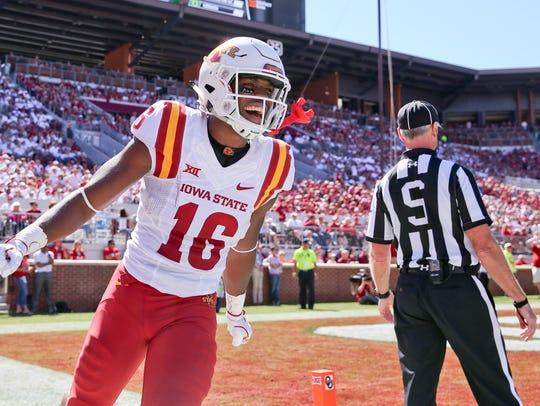 Iowa State wide receiver Marchie Murdock (16) reacts