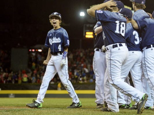 Red Land's Braden Kolmansberger (4) shouts after his team defeated Pearland Wednesday, Aug. 26, 2015, in a Little League World Series at Lamade Stadium in South Williamsport, Pa. Red Land, representing the Mid-Atlantic region, defeated Pearland of the Southwest region 3-0 to advance to the U.S. championship game Saturday. Chris Dunn Ñ Daily Record/Sunday News