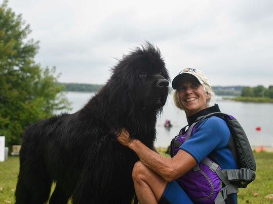 Christie Smith, of Manakin, Va., and her three year-old Newfoundland, Sonar, participated in the 2014 Colonial Newfoundland Club's water rescue testing at Codorus State Park. This year's event is Aug. 21-23.