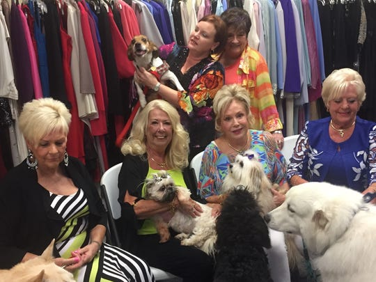 Divas and dogs Getting that perfect photo for some pre-party publicity is difficult when half of the participants are of the canine variety. Glitters and Traditions is lending their timeless fashions for the upcoming Divas and Dogs For PAAWS style show. And with pups in the lineup, it guarantees to be a barking good time. Mark your calendars for Aug. 24 at Rolling Hills Country Club. In the photo from left are Cindy Tubbs, Lois Schmitt, Susie Noveroske and Charlotte Schlensker. Standing in back are Holly Anderson and Glitters' proprietor Barbara Dye. The canines featured are Marley, Mimi, Chacha, Arlo, Krusher and Scooter.
