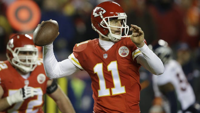 Kansas City Chiefs quarterback Alex Smith ranks last in the NFL is paases down the field.