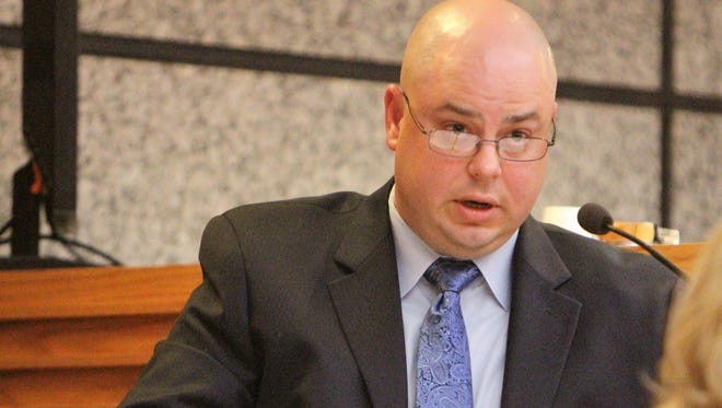 Anderson County Sheriff's Office detective Matthew Voigt testifies at a homicide trial Wednesday.