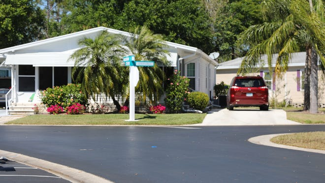 A home at the Resort at Carefree Boulevard, a women's community in greater Fort Myers, Florida.  Founded in the 1990s, the enclave of manufactured homes is among a scattering of all-women communities across the country.
