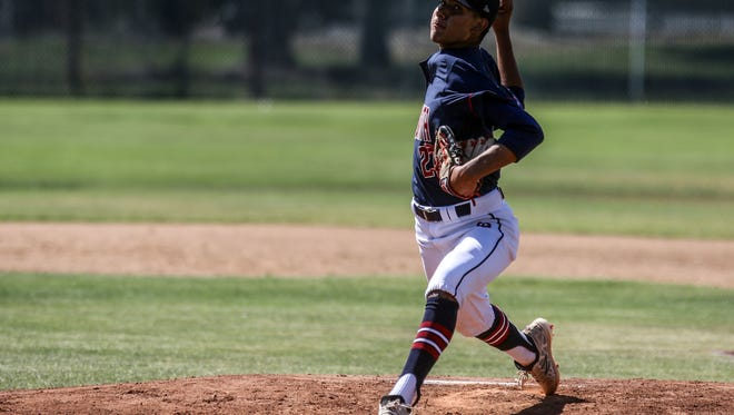 La Quinta's Andres Arellano pitches against Jurupa Hills on Tuesday, May, 22, 2018 in La Quinta.