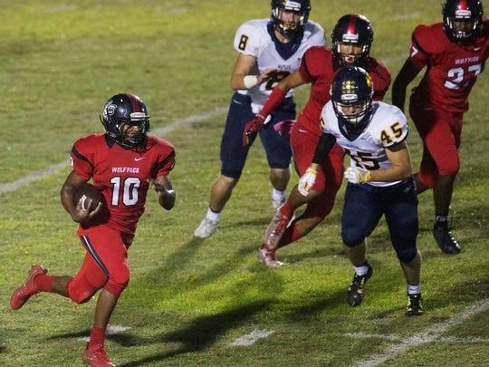 South Fort Myers High School's Kam Crawford returns a kickoff against Naples during second quarter play Friday, Oct. 20, 2017 at South Fort Myers High School.