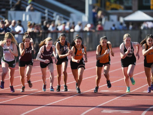 First day of State Sectional Group 1 and 4 Championships at Clifton High School on Friday, May 25, 2018. Start of the girls 1600 M.