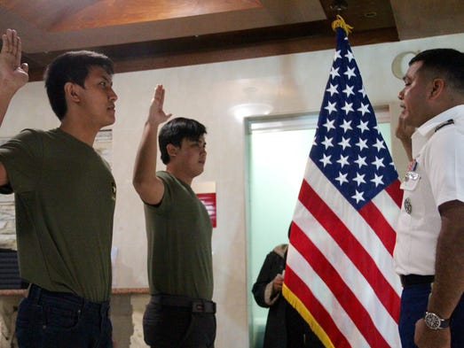 New U.S. Army recruits Ernest and Louie Amoren, both