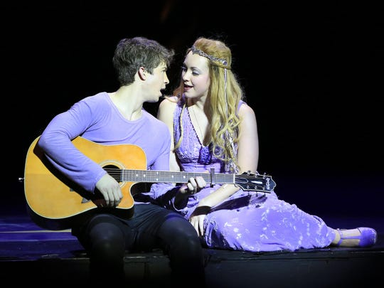 Catherine and Pippin in the Broadway musical, which plays through Sunday at the Playhouse on Rodney Square.