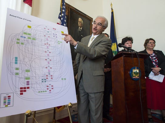 Then-Attorney General William Sorrell speaks during a news conference in Montpelier on April 14, 2016, after the Securities and Exchange Commission alleged that Ariel Quiros and Bill Stenger of Jay Peak Resort misused more than $200 million of EB-5 immigrant investor funds.