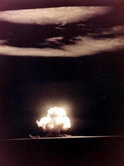 The blast from the first atomic bomb tested at Trinity