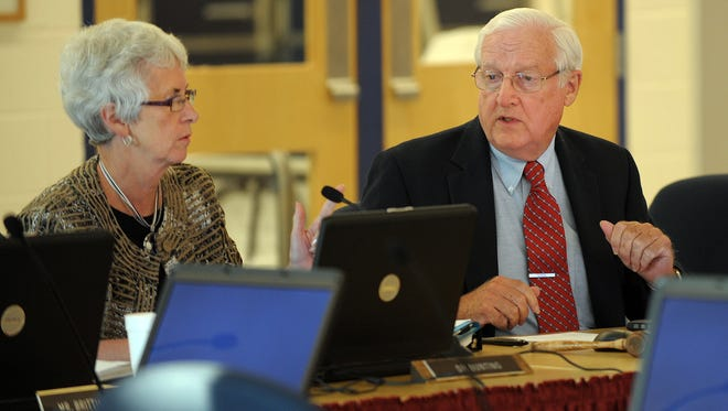 Indian River superintendent Susan Bunting and Board of Education member Charles Bireley are shown at an August 2011 Indian River school board meeting.