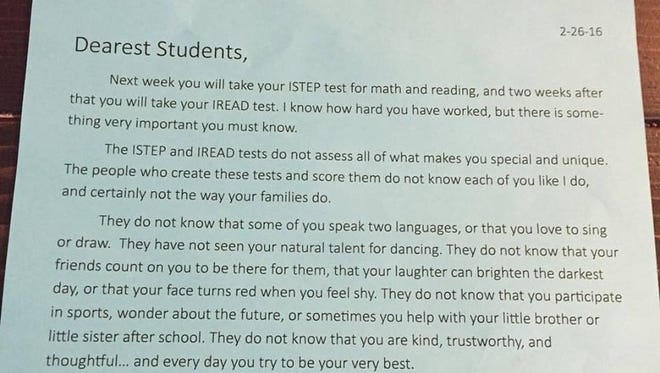Abby Fallis shot this photo of a letter sent home with her third-grade son at Pleasant Crossing in Whiteland. She posted it to Facebook, where it's now been shared more than 8,000 times in four days -- and continuing to grow rapidly.
