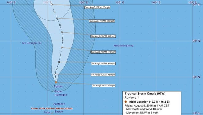 This graphic posted on National Weather Service Guam's Facebook page shows the expected path of Tropical Storm Omais.