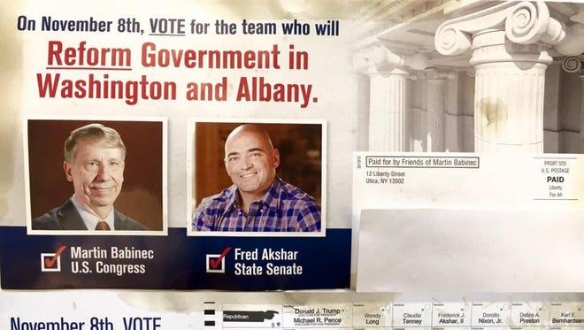 A mailer sent by the Martin Babinec campaign, tying his candidacy to state Sen. Fred Akshar's.