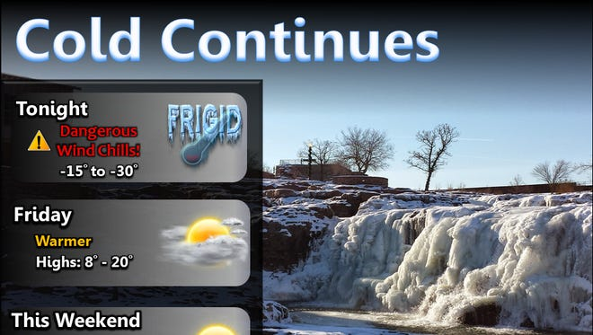 A wind chill advisory is in effect until 10 a.m. Friday for much of the state.