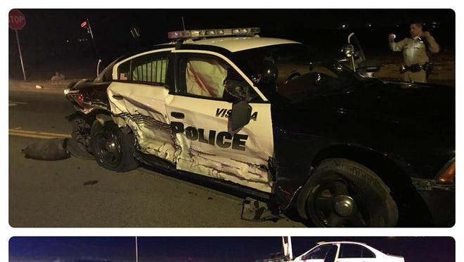 California Highway Patrol officers are investigating a collision that sent a Visalia police officer to the hospital.