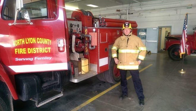 Ryan Hanan stands in one of North Lyon County Fire District's stations.
