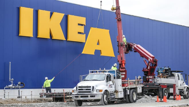 The sign is installed at the new IKEA in Fishers Ind., March 28, 2017.