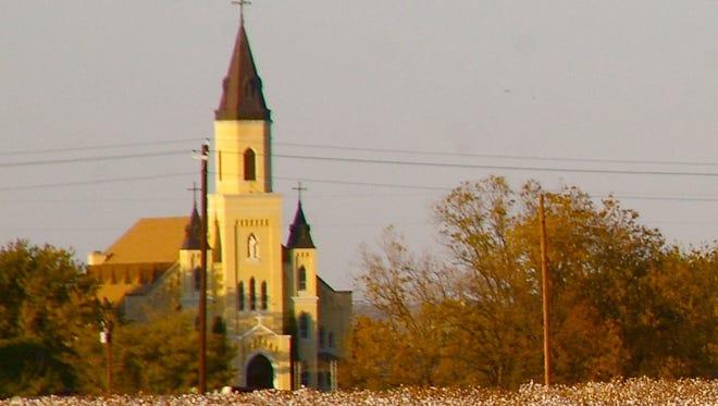 The spire of St. Joseph's Catholic Church in Rhineland.