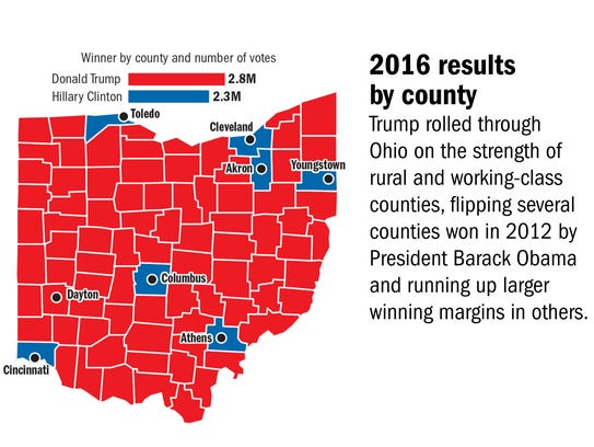 How Donald Trump Won Ohio - Us map of trump county wins