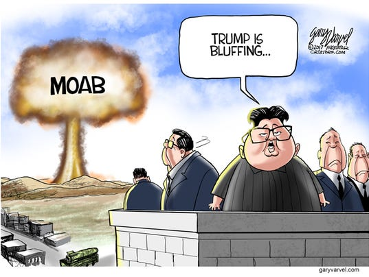 Image result for cartoon trump fire and fury nuclear weapons north koea