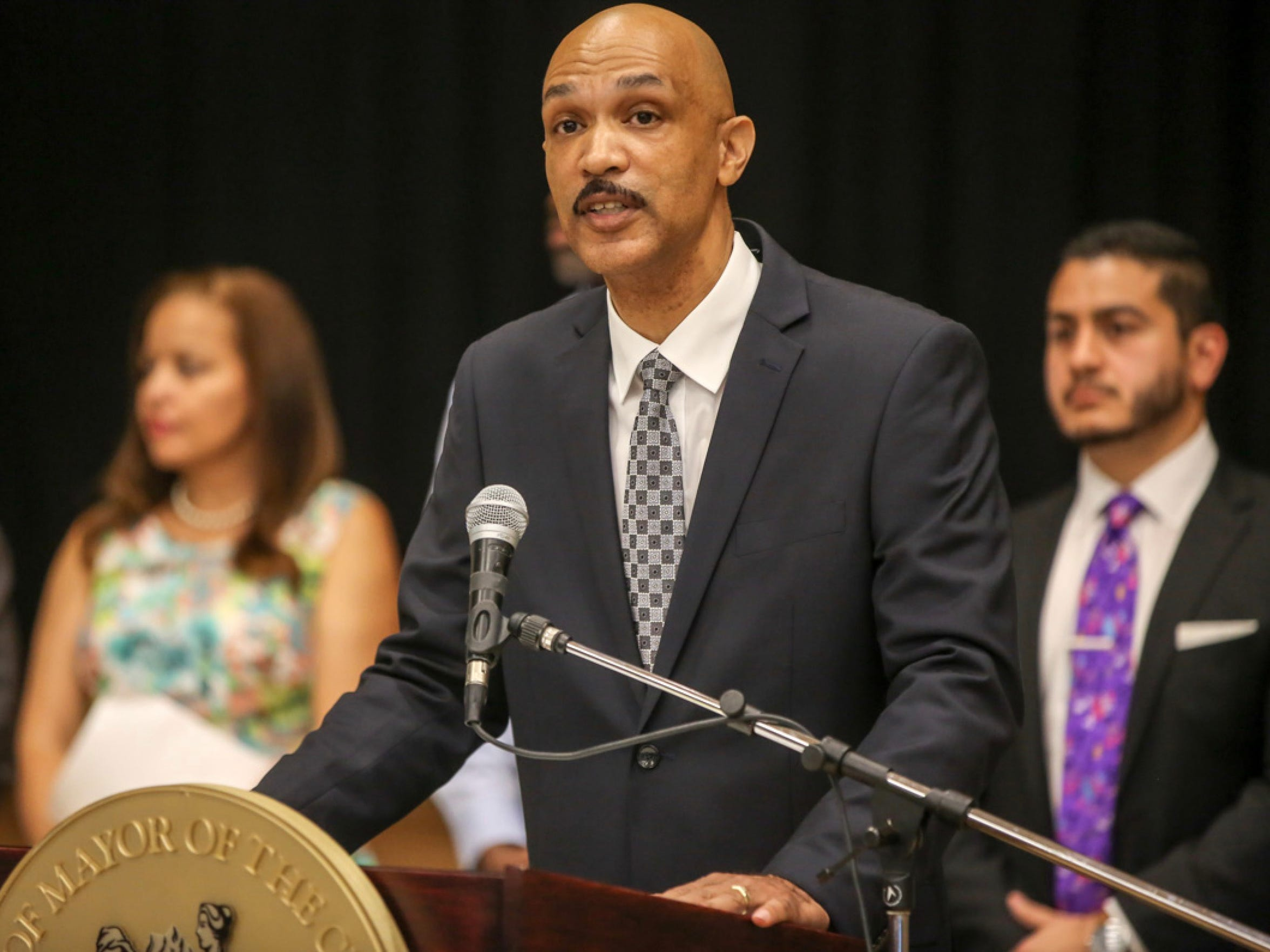 David Bell, Director of Detroit's Buildings, Safety Engineering & Environmental Dept., during a press conference in August  2016.
