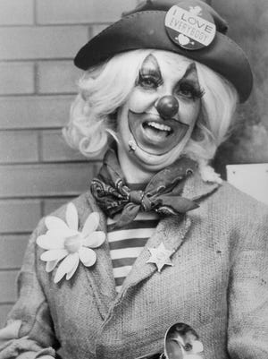 "Lydia Slentz as  ""Susie The Clown"" brought smiles to faces of participants at Memphis Cotton Carnival events in April 1974.  She also made appearances with Danny Thomas at St. Jude Children's Research Hospital."