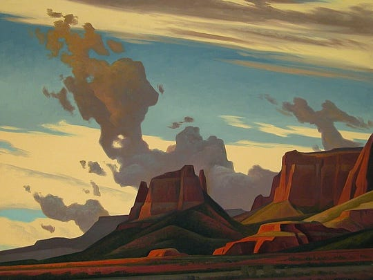 """Red Rock Cloud Drift"" - Artist Ed Mell's artwork serves as the scenic design for Arizona Opera's new production, ""Riders of the Purple Sage."""