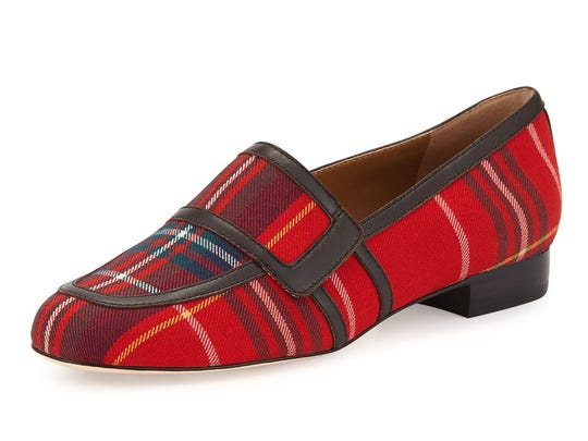 The Rolls red tartan plaid loafer by Bettye Muller is $250 at www.neimanmarcus.com.