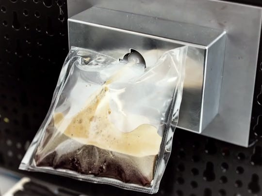 A space-bound espresso machine will dispense coffee into plastic bags so the beverage can be sipped through a tube by astronauts in zero gravity.