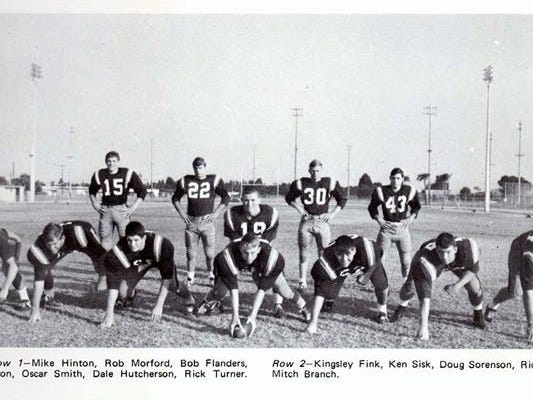 Dale Hutcherson, front row, second from right, in this 1967 photo from Eau Gallie High School's football team.