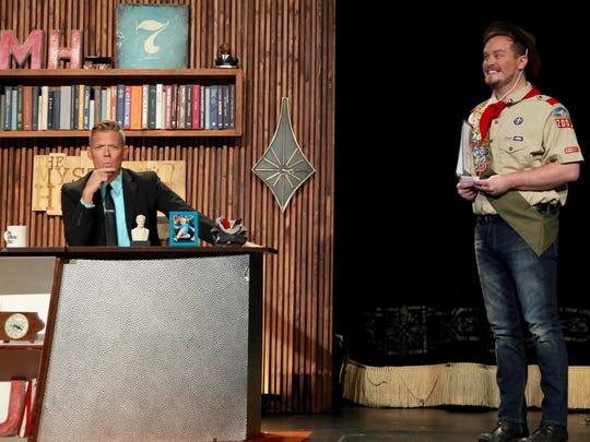 """Host Jeff Houghton and Boy Scout Nate in a scene from """"The Mystery Hour."""""""