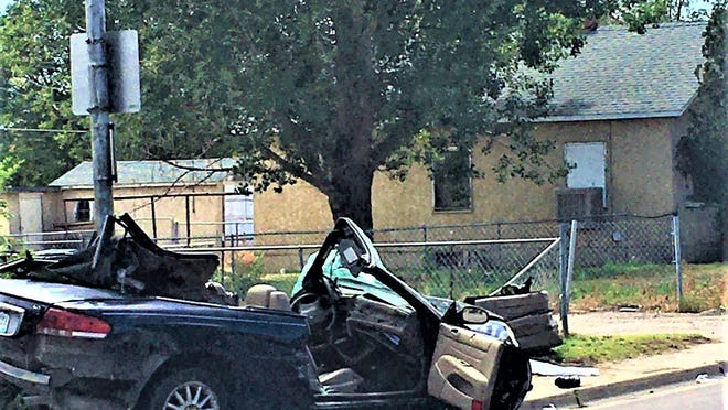 After it was rear-ended by a vehicle traveling at a high rate of speed, this vehicle was sent spinning into a pole, resulting in severe injuries to the 77-year-old driver.