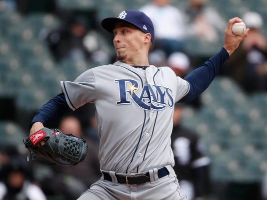 Tampa Bay Rays starting pitcher Blake Snell delivers during the third inning of a baseball game against the Chicago White Sox in Chicago, Tuesday, April 10, 2018. (AP Photo/Jeff Haynes)