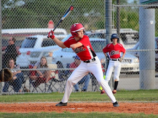 Austin Thurman of the Brevard Heat awaits a pitch on April 12, 2018, at Fred Poppe Regional Park in Palm Bay.