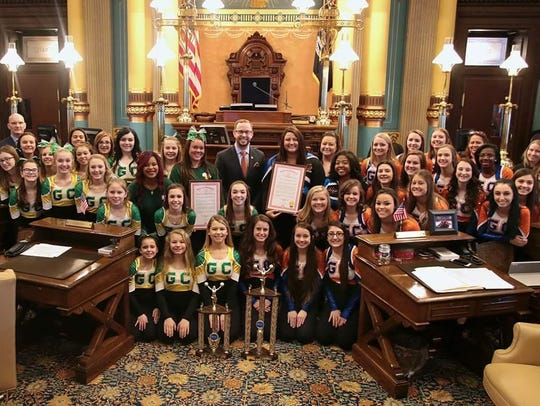 Garden City's state-championship pom teams were honored