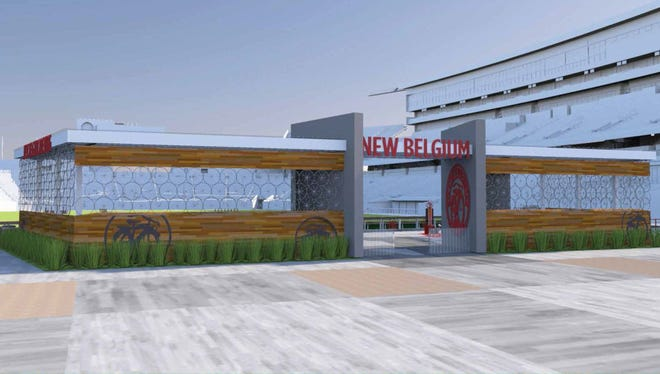 Rendering of the New Belgium Porch, which will serve New Belgium beer at the north end of the CSU on-campus stadium in 2017.