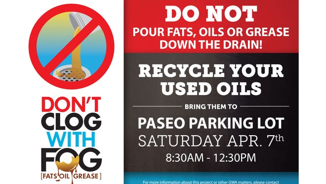 Guam Waterworks Authority will collect used oils on Saturday, April 7, 2018, in an effort to keep the wastewater system free of improperly disposed grease.