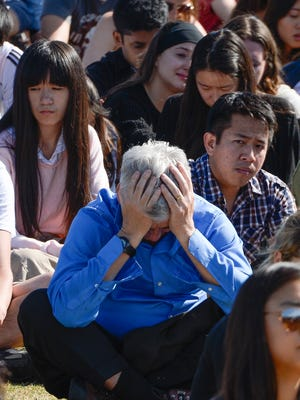 An an attendee at a memorial service at Harder Stadium for the six slain UCSB students.